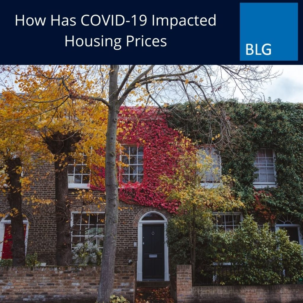 How has covid-19 impacted housing prices graphic with house image below