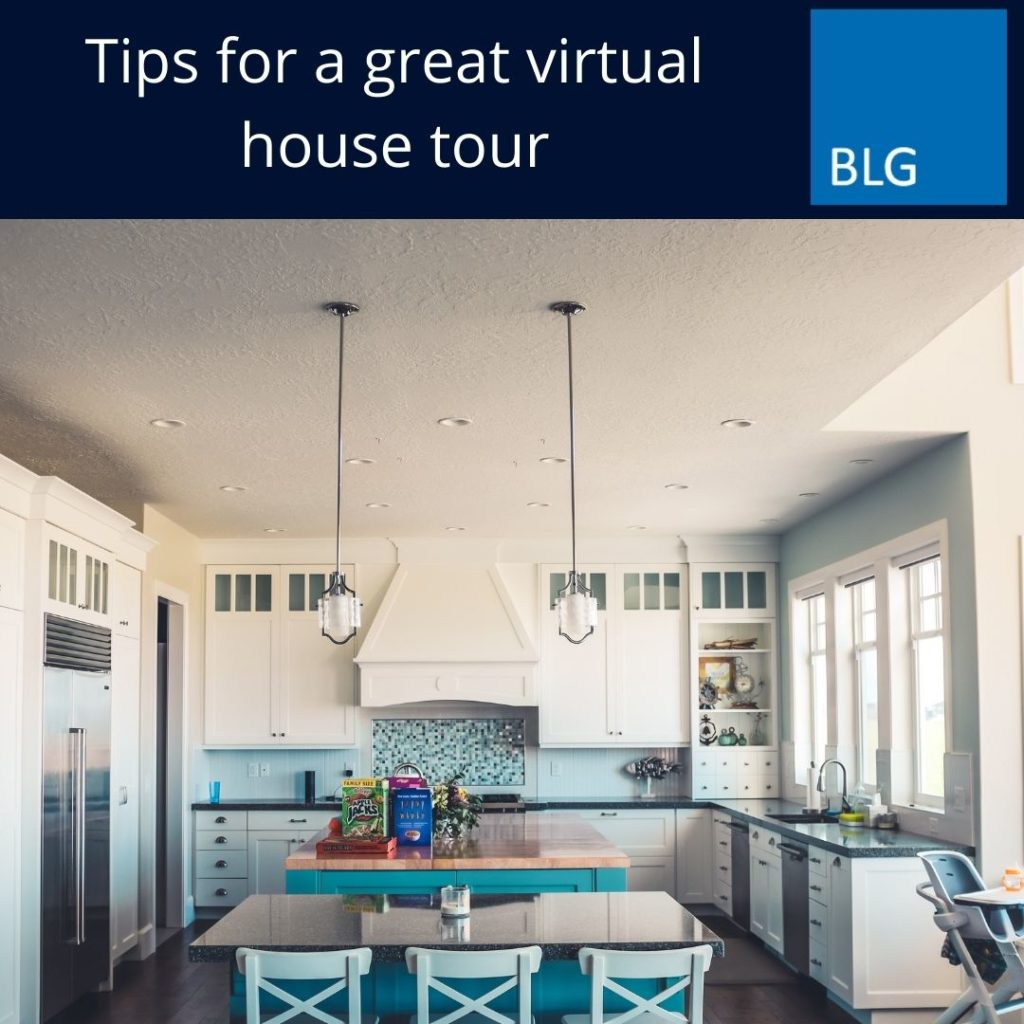 Tips for a great virtual house tour title card with image of kitchen