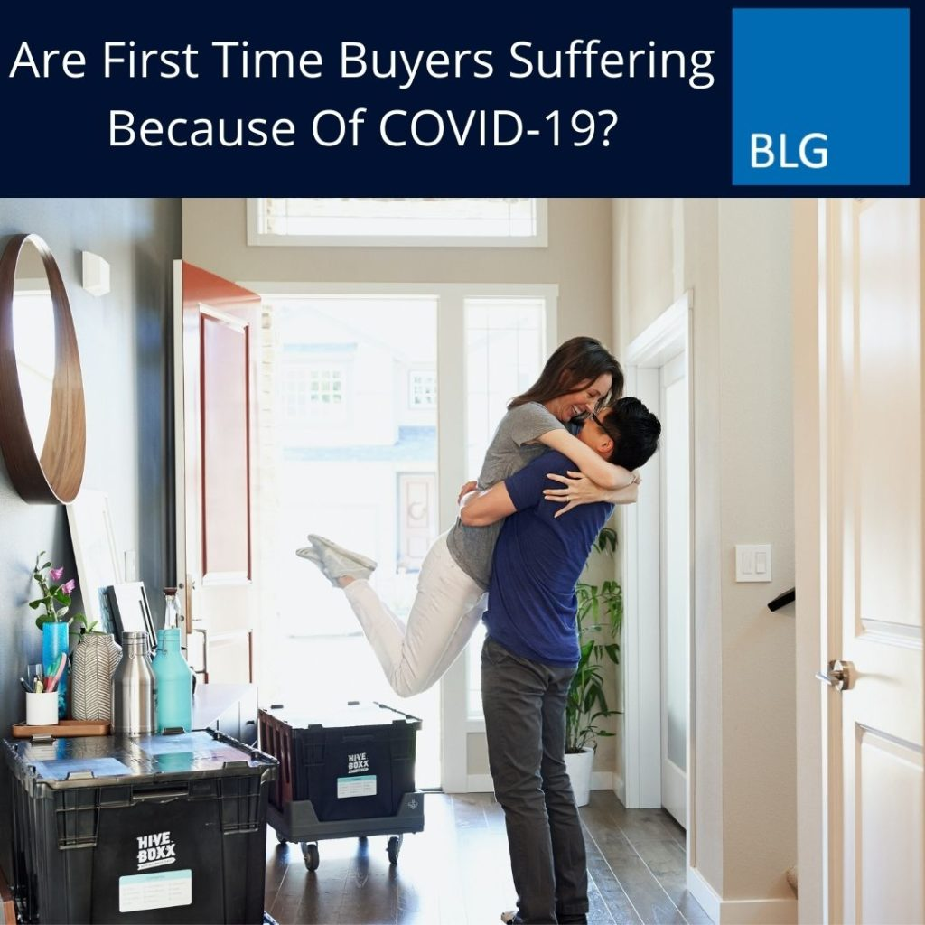 Are First Time Buyers Suffering Because Of COVID-19? graphic with couple in new home